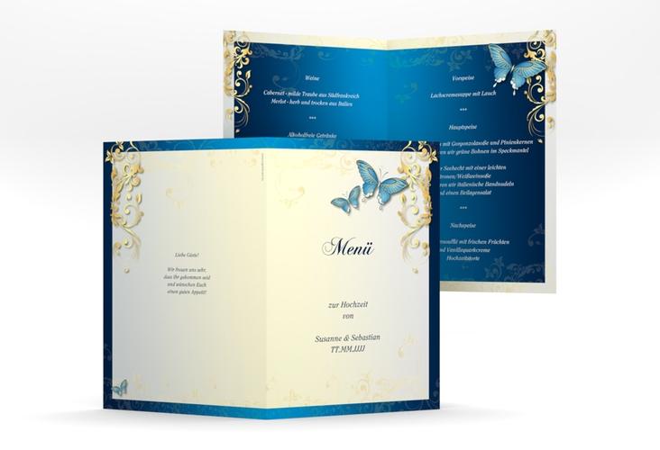 """Menükarte Hochzeit """"Toulouse"""" DIN A5 geklappt blau"""