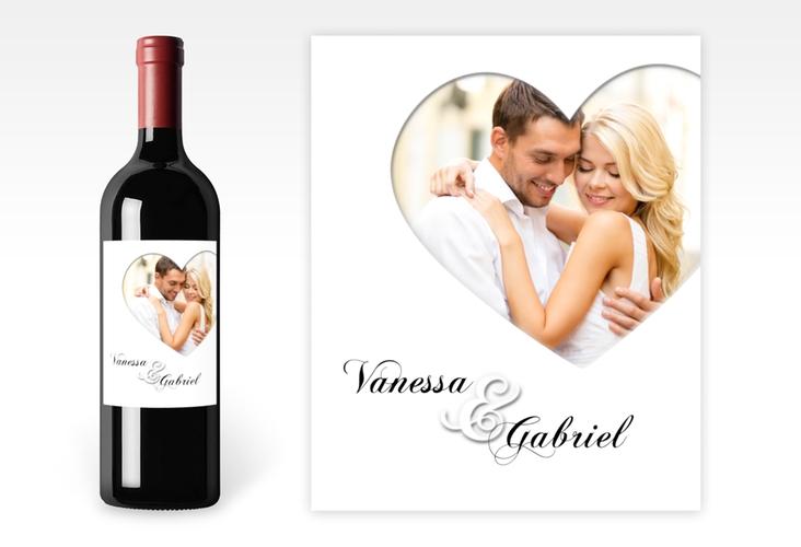 """Weinetikett zur Hochzeit """"Sweetheart"""" Etikett Weinflasche 4er Set weiss"""
