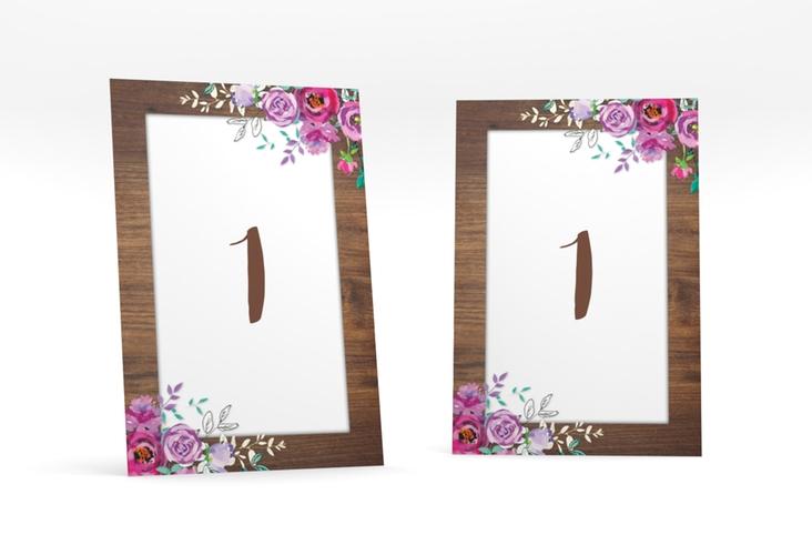 """Tischnummer Hochzeit """"Flourish"""" Tischaufsteller braun"""