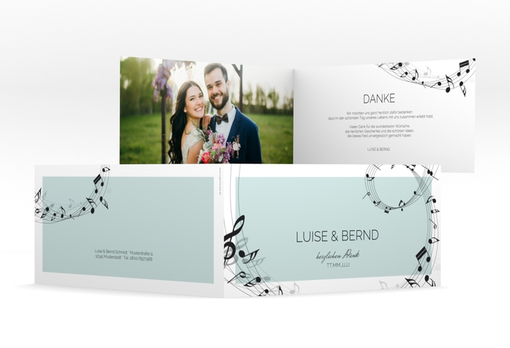 """Dankeskarte Hochzeit """"Melody"""" DIN lang Klappkarte tuerkis"""