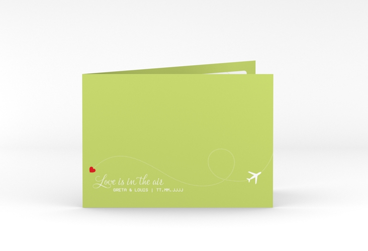 "Dankeskarte Hochzeit ""Weddingpass"" A6 Klappkarte Quer gruen"