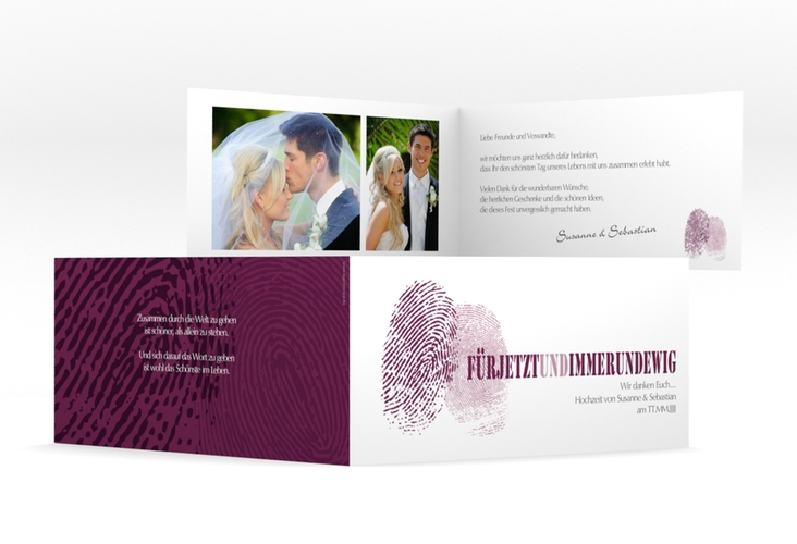 "Dankeskarte Hochzeit ""Messina"" DIN lang Klappkarte lila"