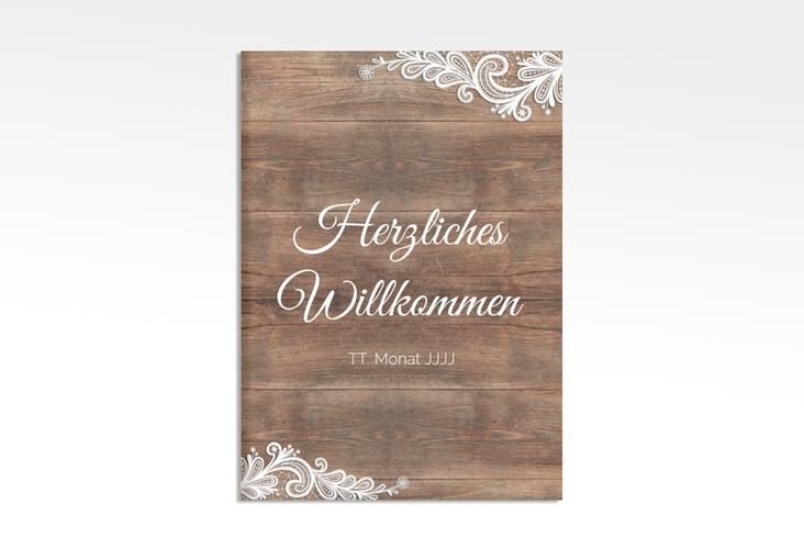 """Willkommensschild Hochzeit """"Spitze"""" 50 x 70 cm Leinwand braun"""