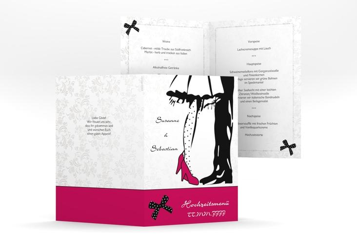 """Menükarte Hochzeit """"Straßburg"""" DIN A5 geklappt pink"""