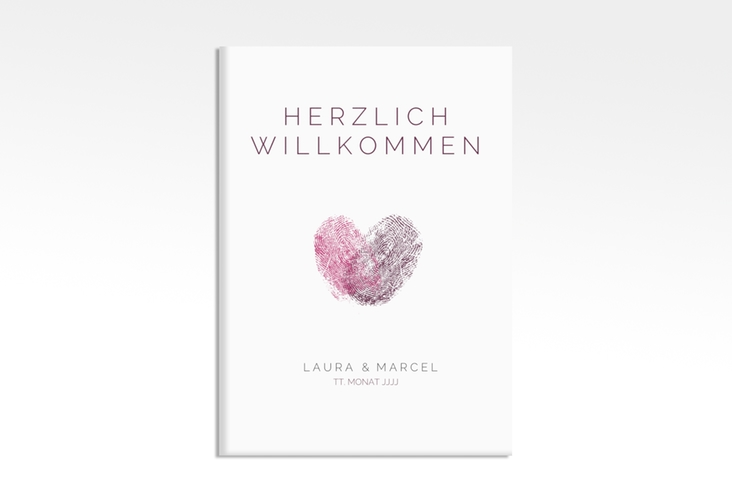"Willkommensschild Leinwand ""Fingerprint"" 50 x 70 cm Leinwand pink"