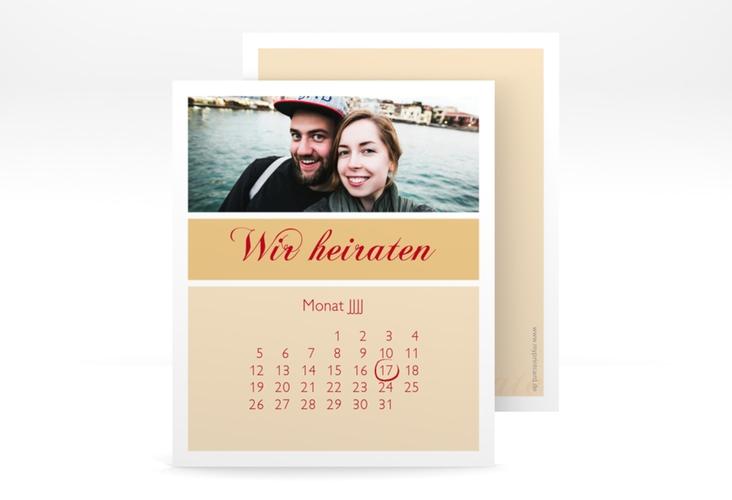 "Save the Date-Kalenderblatt ""Collage"" Kalenderblatt-Karte apricot"