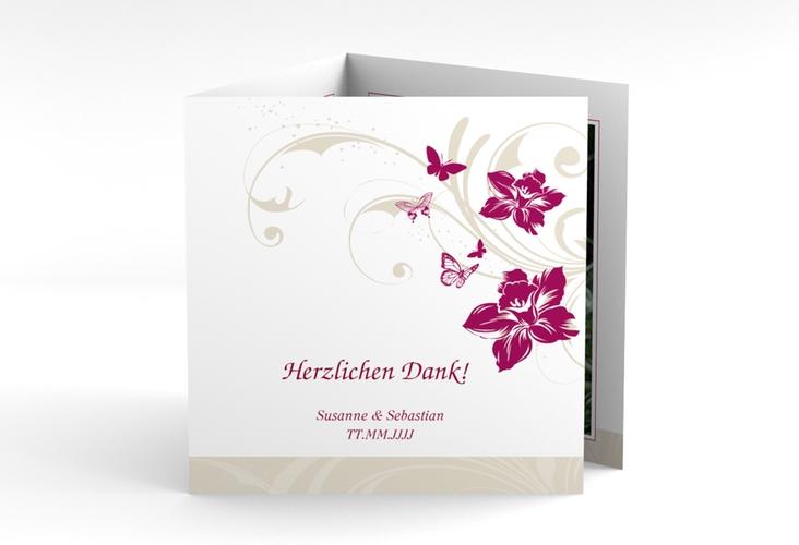 "Danksagungskarte Hochzeit ""Parma"" Quadr. Karte doppelt pink"