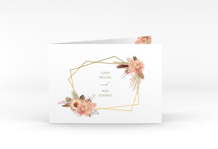 """Hochzeitseinladung """"Strohblume"""" A6 Klappkarte Quer weiss"""