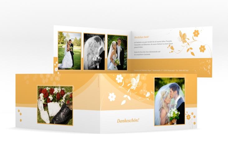 """Danksagungskarte Hochzeit """"Verona"""" DIN lang Klappkarte orange"""