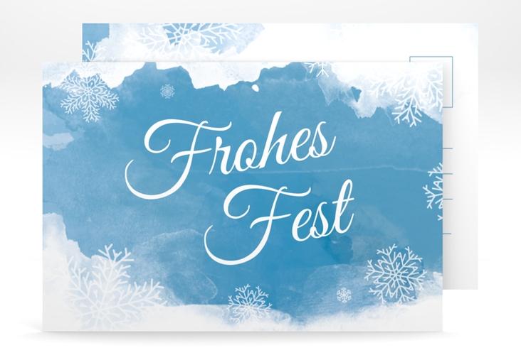 "Weihnachtskarte ""Eisblume"" A6 Postkarte blau"