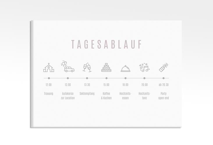 """Tagesablauf Leinwand Hochzeit """"Memory"""" 70 x 50 cm Leinwand grau"""