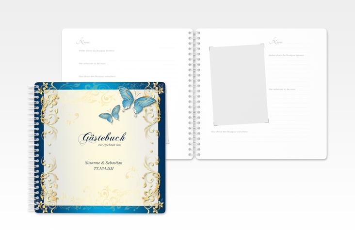 """Gästebuch Hochzeit """"Toulouse"""" Ringbindung blau"""