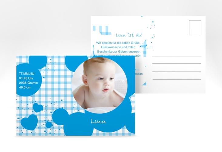 Geburtskarte Karomuster A6 Postkarte blau