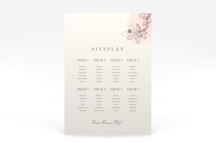"""Sitzplan Poster Hochzeit """"Artlover"""" 50 x 70 cm Poster rosa"""