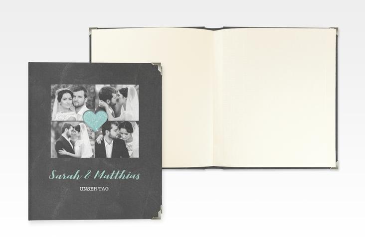 """Hochzeitsalbum """"Sparkly"""" 21 x 25 cm tuerkis"""
