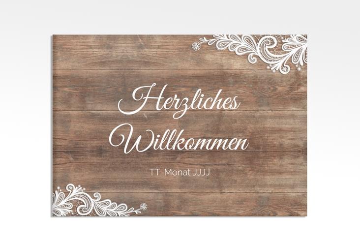 """Willkommensschild Hochzeit """"Spitze"""" 70 x 50 cm Leinwand"""