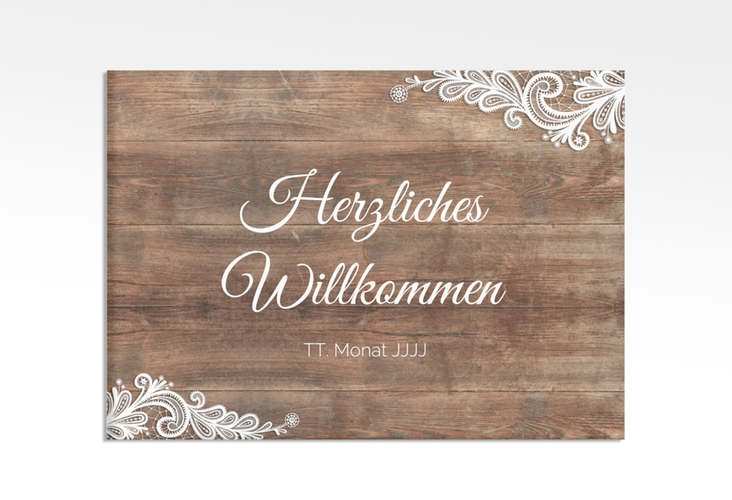 """Willkommensschild Hochzeit """"Spitze"""" 70 x 50 cm Leinwand braun"""