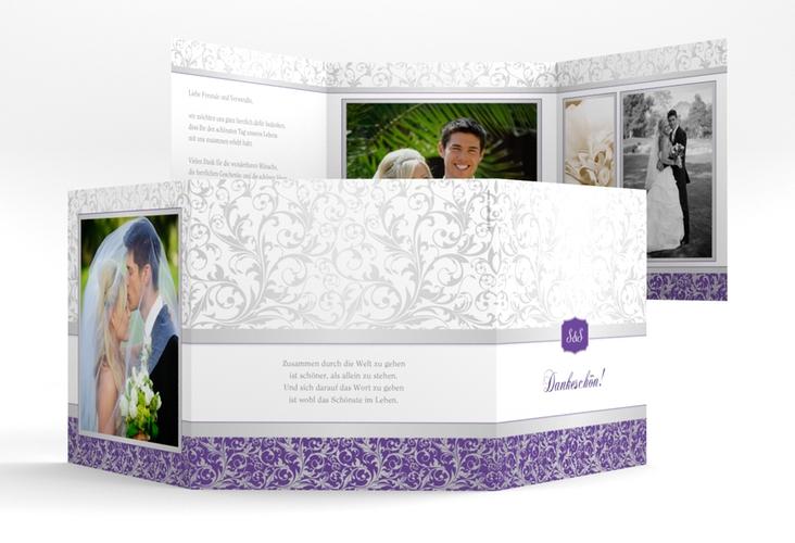 """Dankeskarte Hochzeit """"Latina"""" Quadr. Karte doppelt lila"""