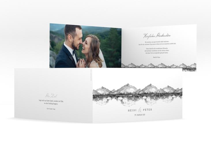"""Danksagungskarte Hochzeit """"Bergliebe"""" DIN lang Klappkarte grau"""