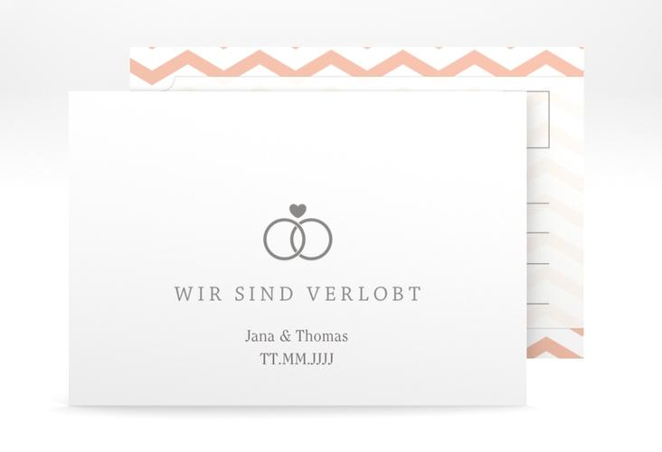 "Verlobungskarte Hochzeit ""Avery"" A6 Postkarte weiss"