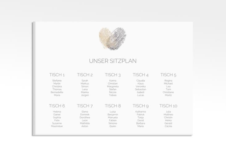 "Sitzplan Leinwand Hochzeit ""Fingerprint"" 70 x 50 cm Leinwand beige"