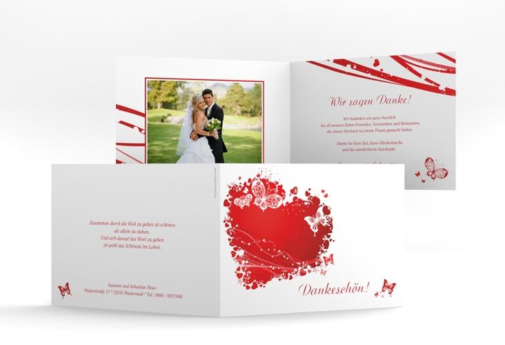 "Danksagungskarte Hochzeit ""Mailand"" A6 Klappkarte Quer rot"
