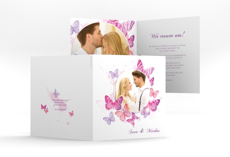 """Hochzeitseinladung """"Schmetterlinge"""" Quadratische Klappkarte"""