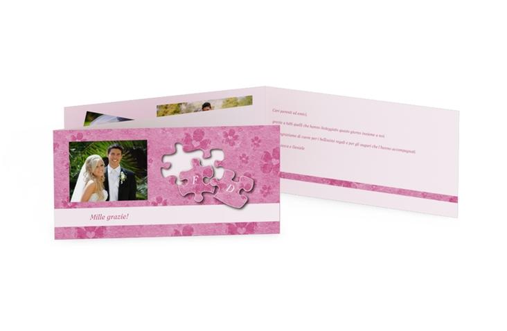 Ringraziamenti matrimonio collezione Bergamo DIN lang Klappkarte rosa