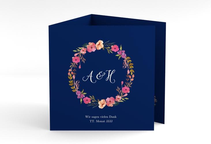"Dankeskarte Hochzeit ""Fiore"" Quadr. Karte doppelt blau"