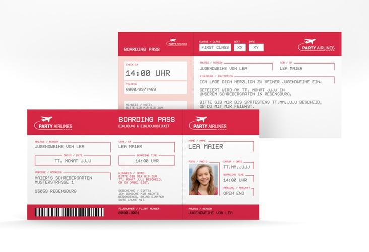 "Einladung Jugendweihe ""Ticket"" DIN lang rot"