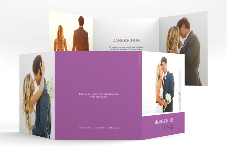 "Dankeskarte Hochzeit ""Balance"" Quadr. Karte doppelt lila"