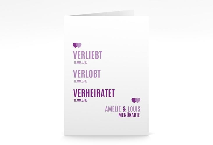 "Menükarte Hochzeit ""Couple"" DIN A5 geklappt lila"