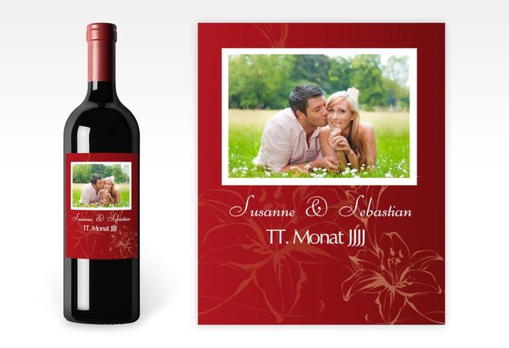 """Weinflaschenetikett Hochzeit """"Lille"""" Etikett Weinflasche 4er Set rot"""