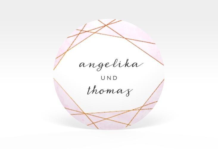 """Aufkleber Hochzeit """"Asymmetry"""" Aufkleber, selbstklebend, rund rosa"""