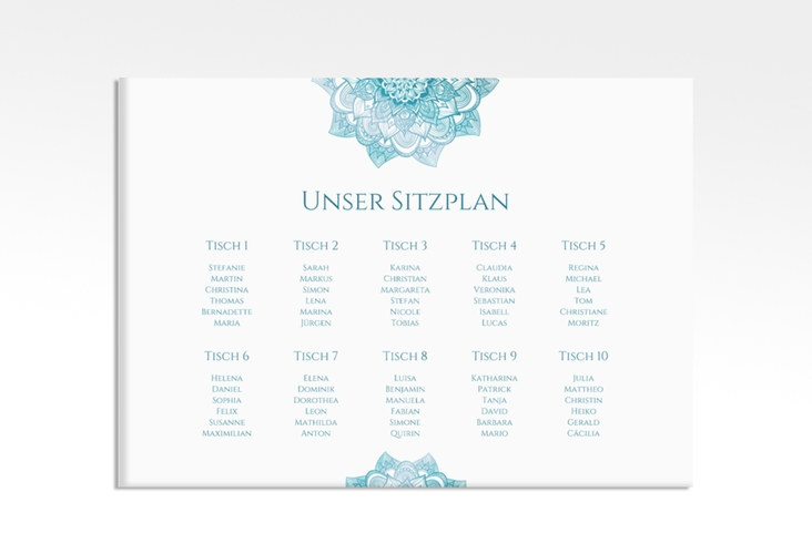 "Sitzplan Leinwand Hochzeit ""Delight"" 70 x 50 cm Leinwand tuerkis"
