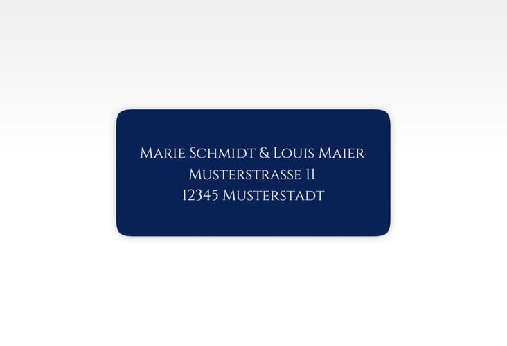 """Absenderetikett Hochzeit """"Elegancy"""" 45,7 x 21,2 mm blau"""