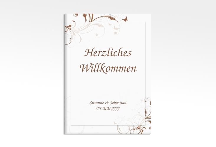 """Willkommensschild Hochzeit """"Palma"""" 50 x 70 cm Leinwand braun"""