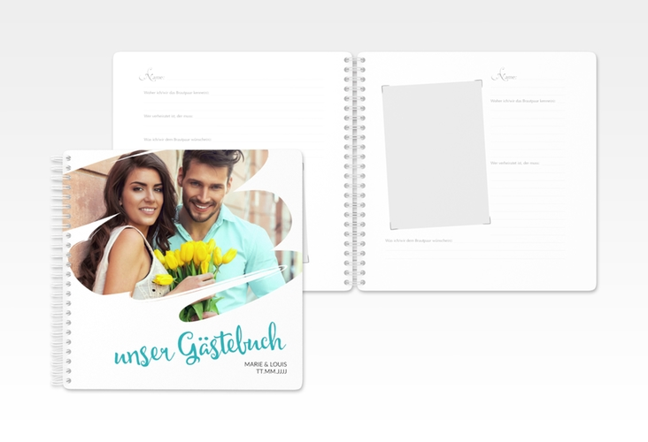 """Gästebuch Hochzeit """"Felice"""" Ringbindung tuerkis"""