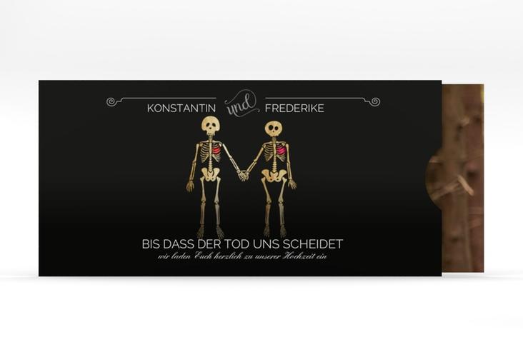 """Hochzeitseinladung """"Bones"""" Einsteckkarte schwarz"""