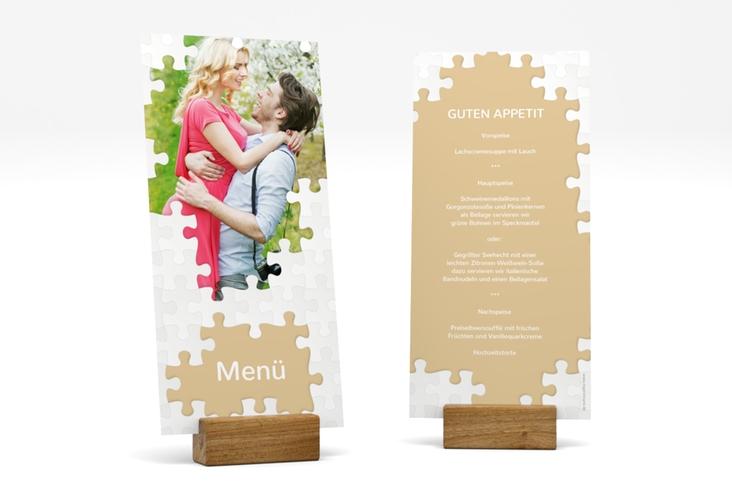 """Menükarte Hochzeit """"Puzzle"""" DIN lang hoch beige"""