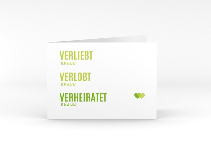 """Danksagungskarte Hochzeit """"Couple"""" A6 Klappkarte Quer gruen"""
