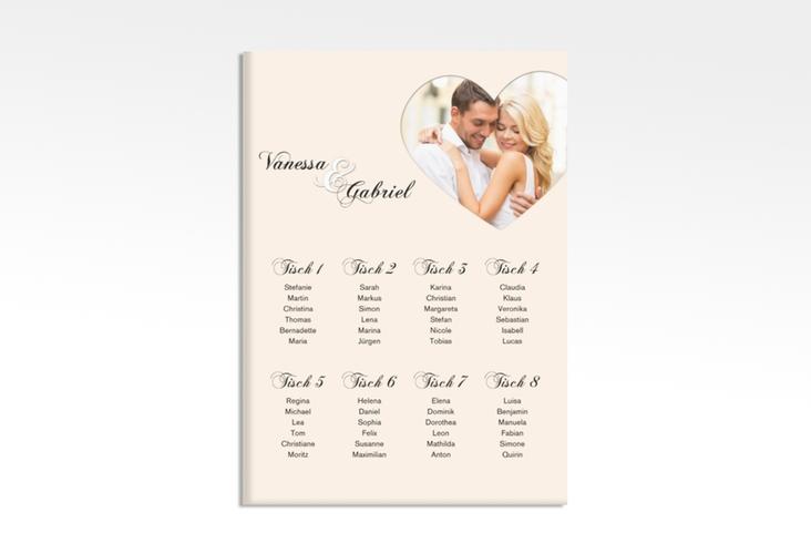 "Sitzplan Leinwand Hochzeit ""Sweetheart"" 50 x 70 cm Leinwand beige"
