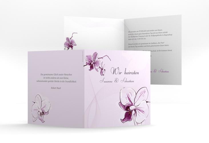 """Einladung Hochzeit """"Modena"""" Quadratische Klappkarte lila"""