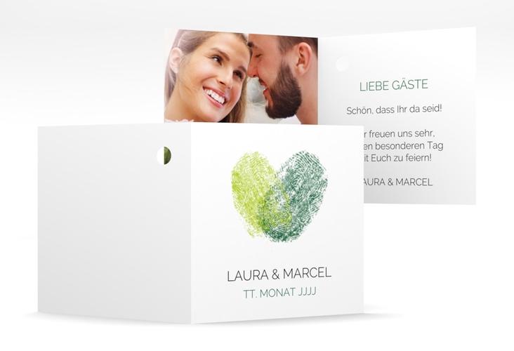 """Geschenkanhänger Hochzeit """"Fingerprint"""" Geschenkanhänger 10er Set gruen"""