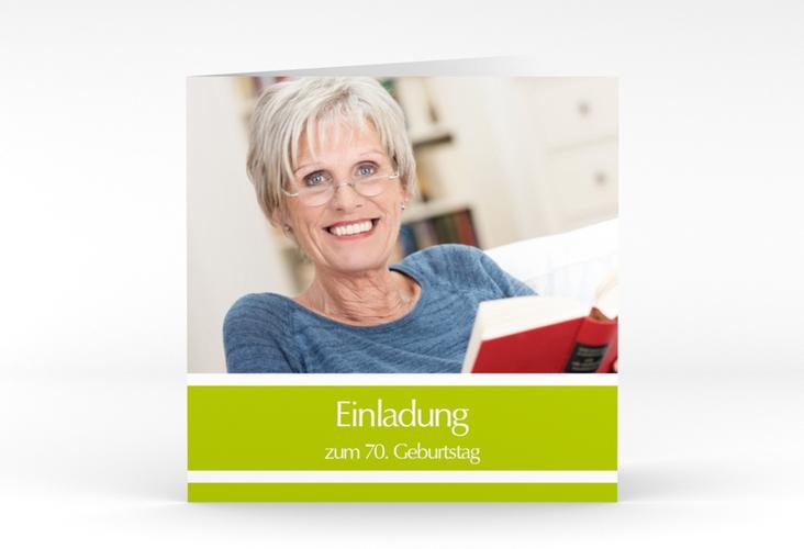 "Einladungskarte ""Gerd/Gerda"" Quadratische Klappkarte gruen"