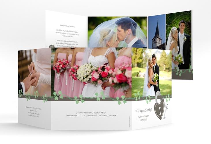 "Danksagungskarte Hochzeit ""Oviedo"" Quadr. Karte doppelt gruen"