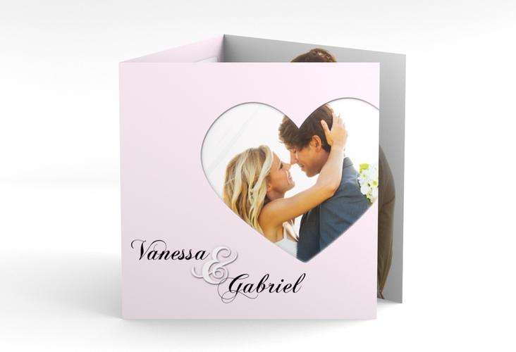 """Dankeskarte Hochzeit """"Sweetheart"""" Quadr. Karte doppelt rosa"""