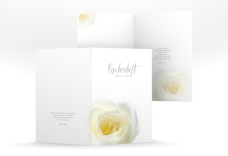 "Kirchenheft Hochzeit ""Rose"" DIN A5 geklappt"