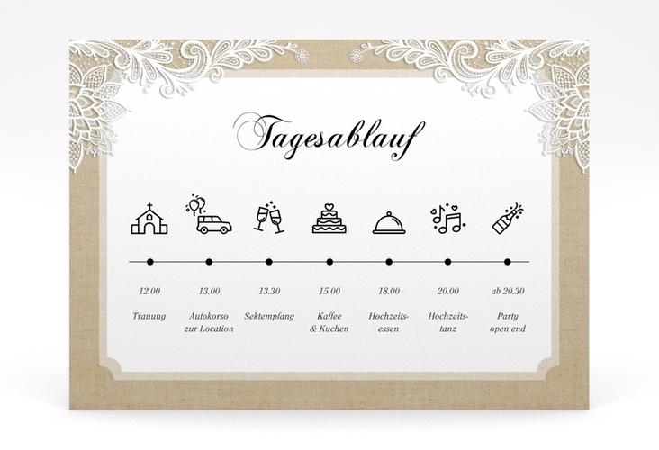 """Tagesablauf Poster Hochzeit """"Lace"""" 70 x 50 cm Poster beige"""
