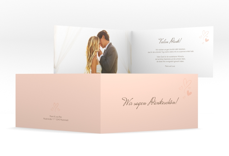 "Danksagungskarte Hochzeit ""Purity"" DIN lang Klappkarte"
